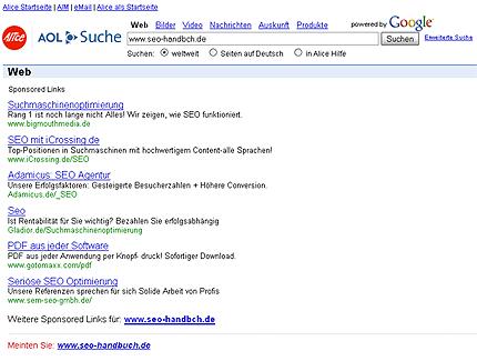 AOL/Alice-Fehlerseite