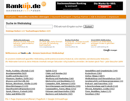 Rankup.de - Rank up your Site! Webkatalog und Webverzeichnis - Screenshot