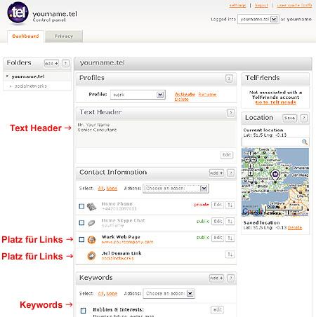 .tel Domain Control Panel