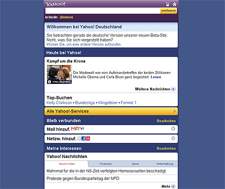 Yahoo Mobile Internetportal