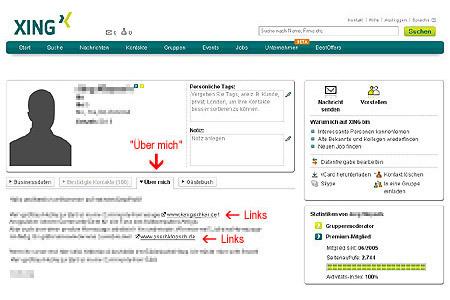 """Xing-Profil """"Über mich"""""""