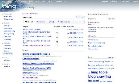 Microsoft Bing Webmaster Center Community