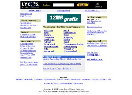 Suchmaschine Lycos ca. 1999