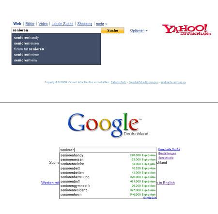 Suggest Suche bei Google und Yahoo nach Senioren