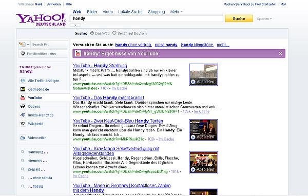 Suchmaschine Yahoo - Neue Optik