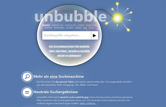 Unbubble Startscreen