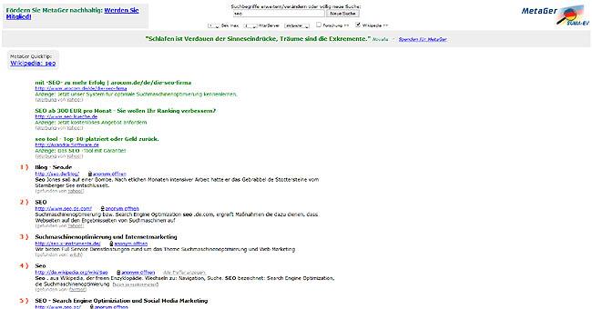 MetaGer Suchergebnisse
