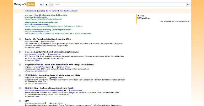 MetaGer3 Suchergebnisse