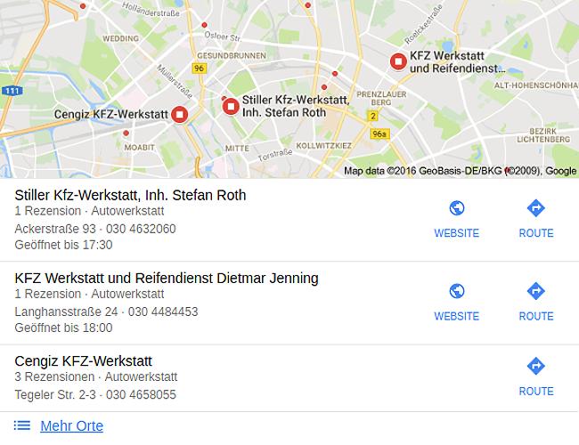 Google Firmeneinträge